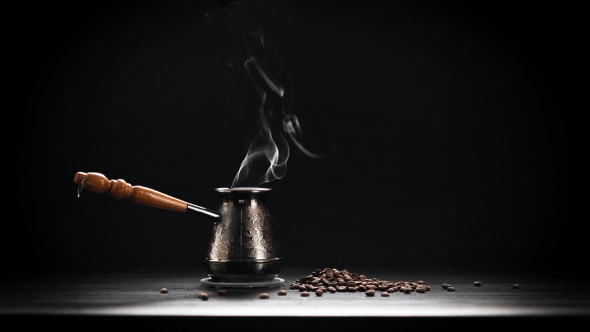 VideoHive Coffee Pot On Dark Background 19083641