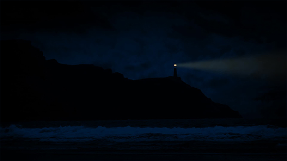 VideoHive Lighthouse On Coast At Night 19084793