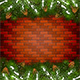 Brick Wall Background with Christmas Fir Tree Branches and Snow