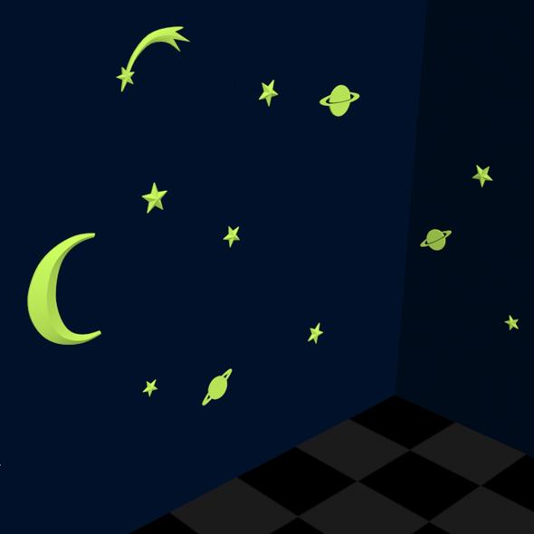 3DOcean Fluorescent star stickers 19085648