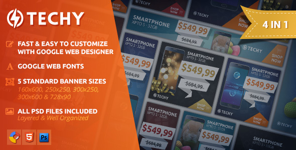 Techy - Holiday Sales HTML5 Banner Template