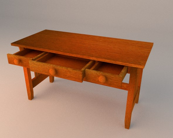 3DOcean Simple Wooden Desk with Drawers 19086647