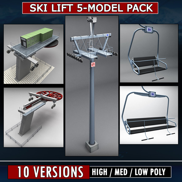 Ski lift mountain winter pack - 3DOcean Item for Sale