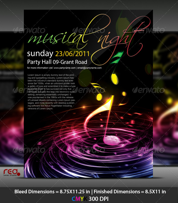 GraphicRiver Music Party Poster Flyer Template 221059