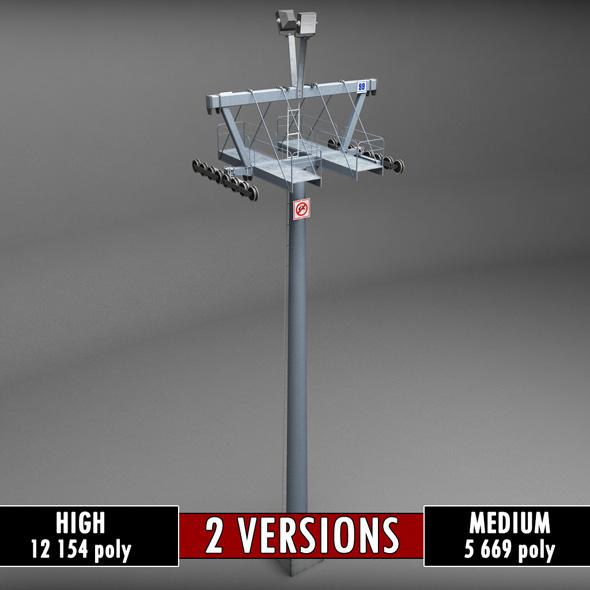 Ski lift mountain pole medium poly - 3DOcean Item for Sale