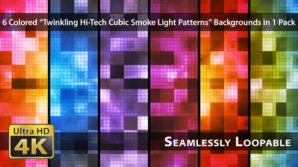 VideoHive Twinkling Hi-Tech Cubic Smoke Light Patterns Pack 01 19088185