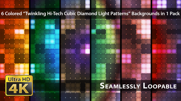 VideoHive Twinkling Hi-Tech Cubic Diamond Light Patterns Pack 01 19088808