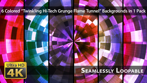 VideoHive Twinkling Hi-Tech Grunge Flame Tunnel Pack 03 19089121