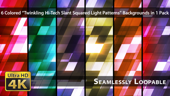 VideoHive Twinkling Hi-Tech Slant Squared Light Patterns Pack 01 19089429