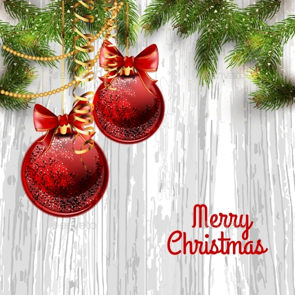 Christmas Card Background with Fir Tree and