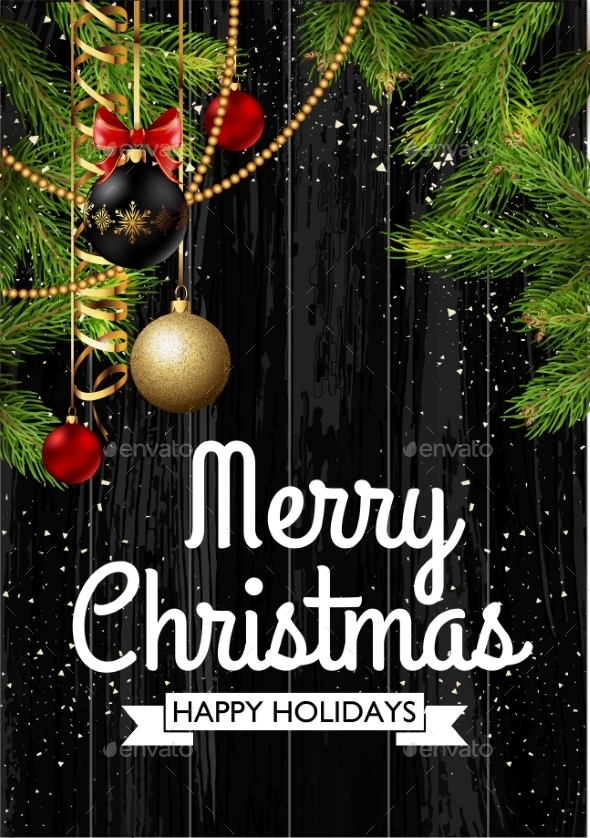 Christmas Card Background with Fir Tree