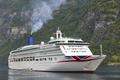 Norwegian fjord landscape. Cruise travel. Geiranger route. Visit Norway. Tourism