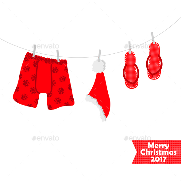 Christmas card 2017. Beach accessories, swimsuit