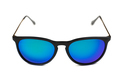 Trendy sunglasses with blue lenses.