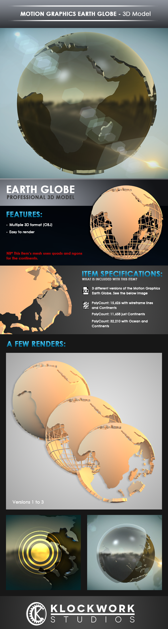 motion graphics earth globe - 3DOcean Item for Sale