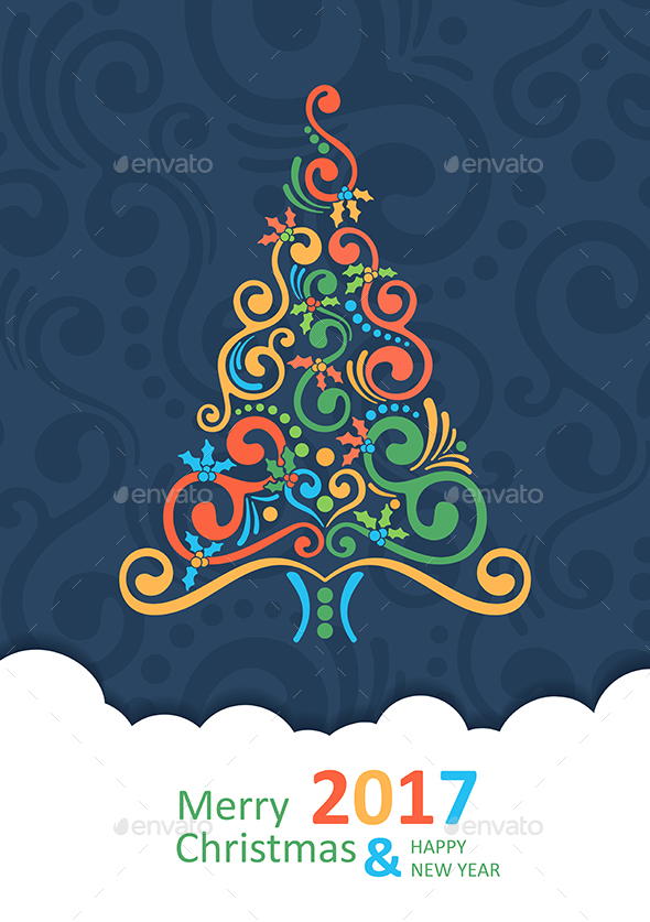 Merry Christmas Card with Christmas Tree. Happy New Year 2017