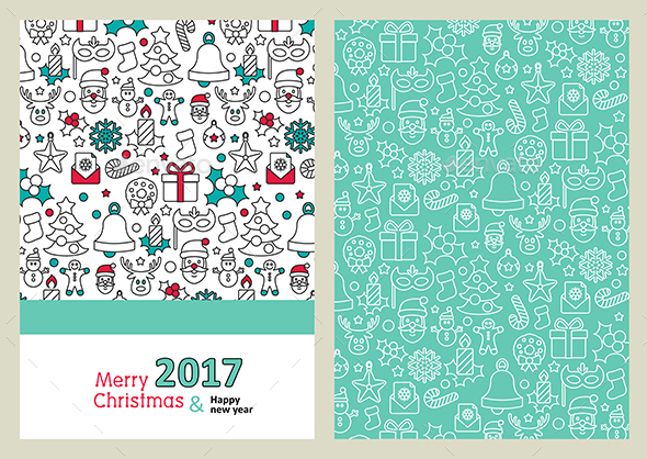 Merry Christmas Card. Happy New Year 2017