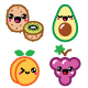 Kawaii Fruit and Nuts Character Icons Set