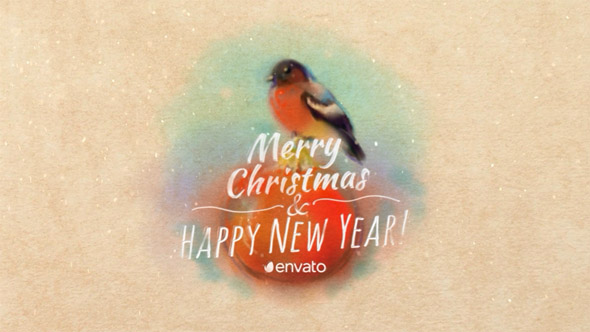 VideoHive Christmas Card With Bullfinch 19009683