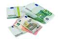 Euro banknotes of different denomination closeup