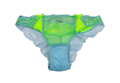 Green and blue fishnet panties