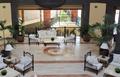 Luxury hotel lobby with columns.