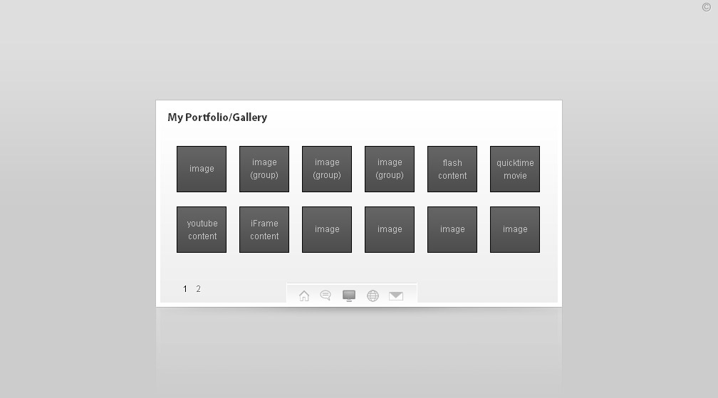 The Virtual Business Card (vCard) - This is the Gallery Section. It can open images, grouped images, swf, youtube, quicktime & iframe content in a lightbox.