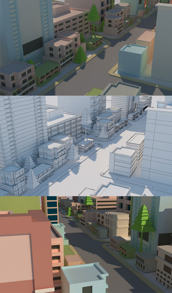 Cartoon City Model - 3DOcean Item for Sale