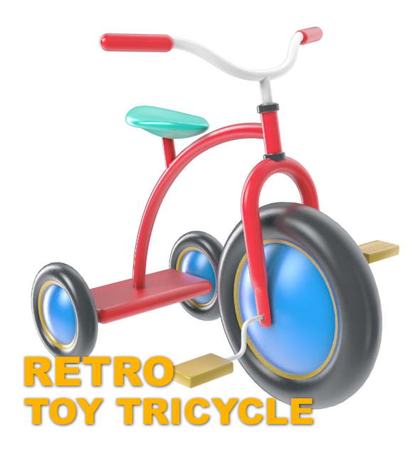 3DOcean Retro Toy Tricycle ready for render 19105568