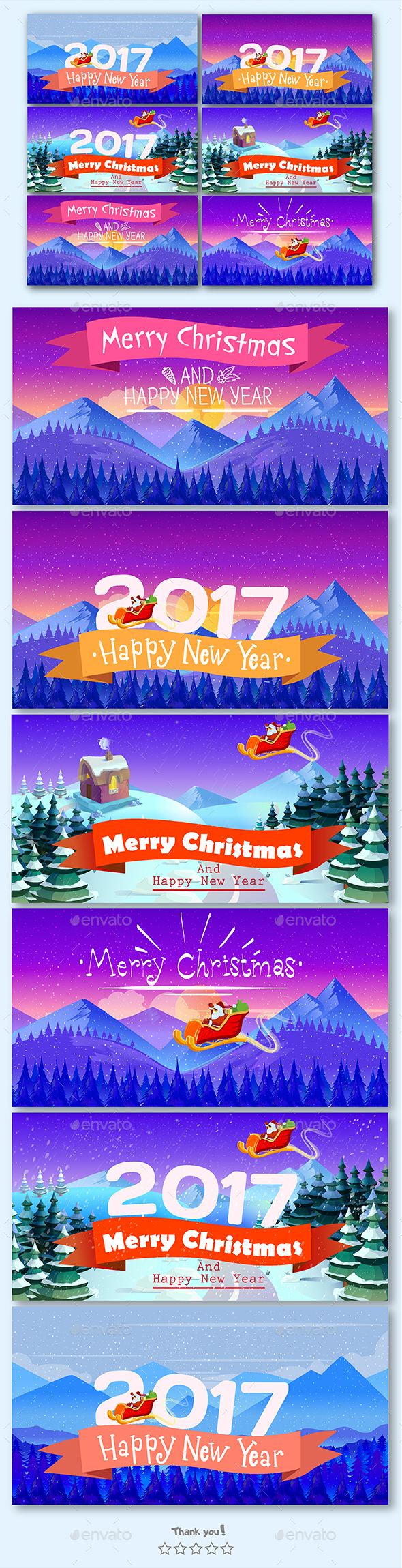 Christmas Cards Vector Illustrations