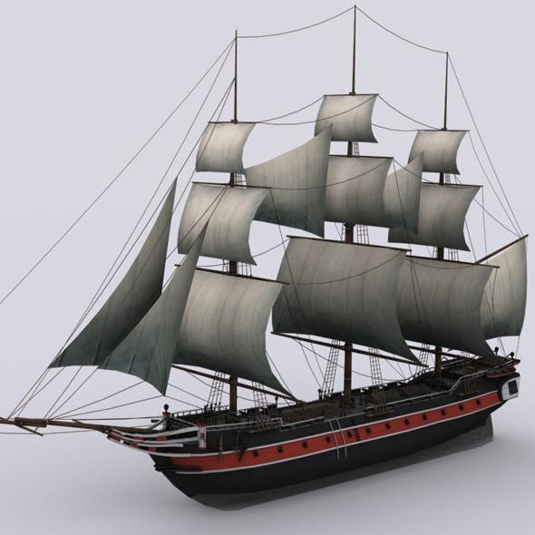 3DOcean Sailing warship corvette 19107602