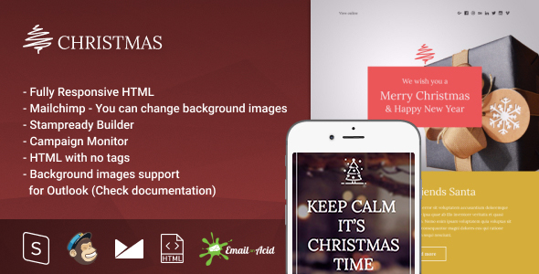 Christmas - Responsive Email with Mailchimp Editor & StampReady Builder