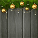 Golden Christmas Decorations on Black Wooden Background