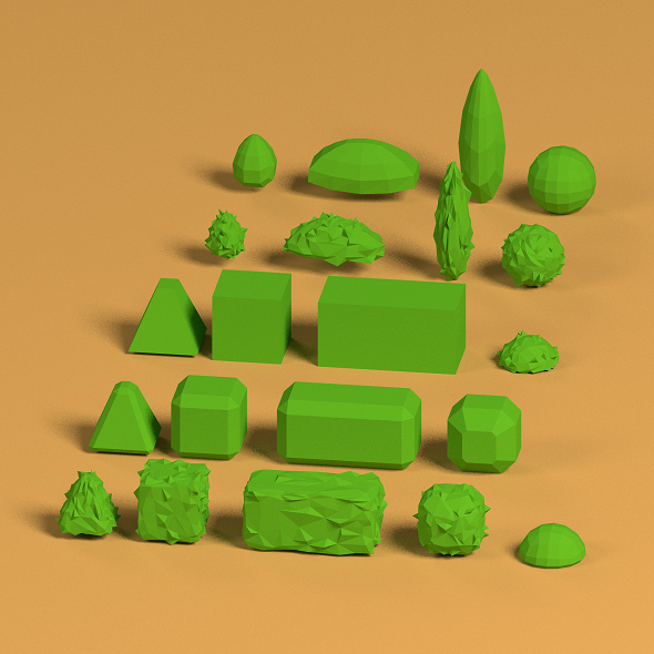 3DOcean Low Poly Shrubs 19111368