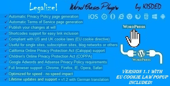 Legalize - Privacy Policy / Terms of Service Generator and EU Cookie Law Popup Plugin for WordPress - CodeCanyon Item for Sale