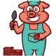 Pig Bricklayer Worker Cartoon