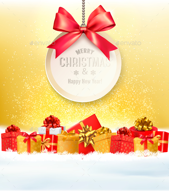Christmas Presents with a Gift Card and Ribbon
