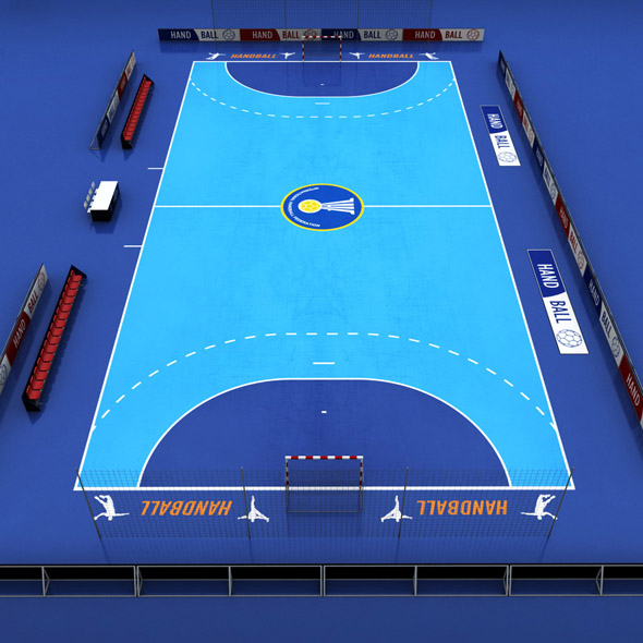 Handball court arena low poly - 3DOcean Item for Sale