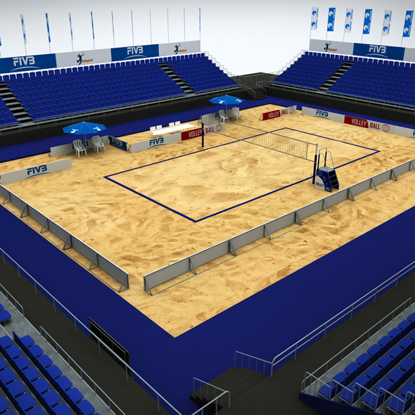Volleyball beach court stadium high detail - 3DOcean Item for Sale