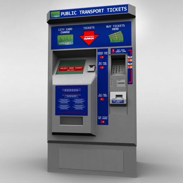Bus Ticket Machine low poly - 3DOcean Item for Sale