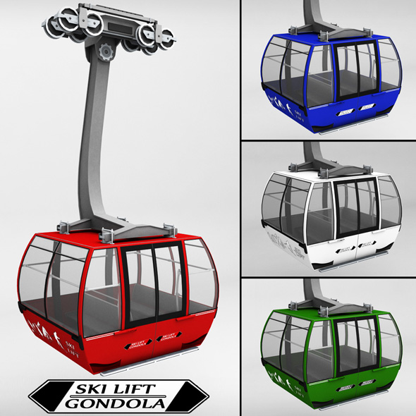 Ski lift gondola cable car - 3DOcean Item for Sale