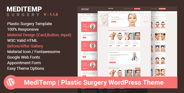 Meditemp - Plastic Surgery Responsive Wordpress Theme