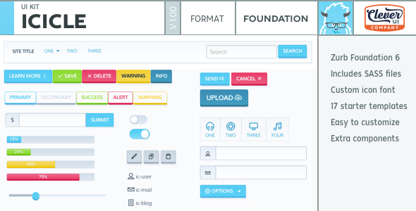 Icicle UI Kit for Zurb Foundation 6