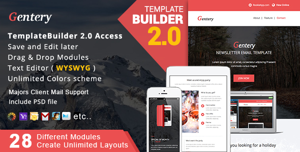 Download Gentery - Responsive Email + MailBuild Online nulled download