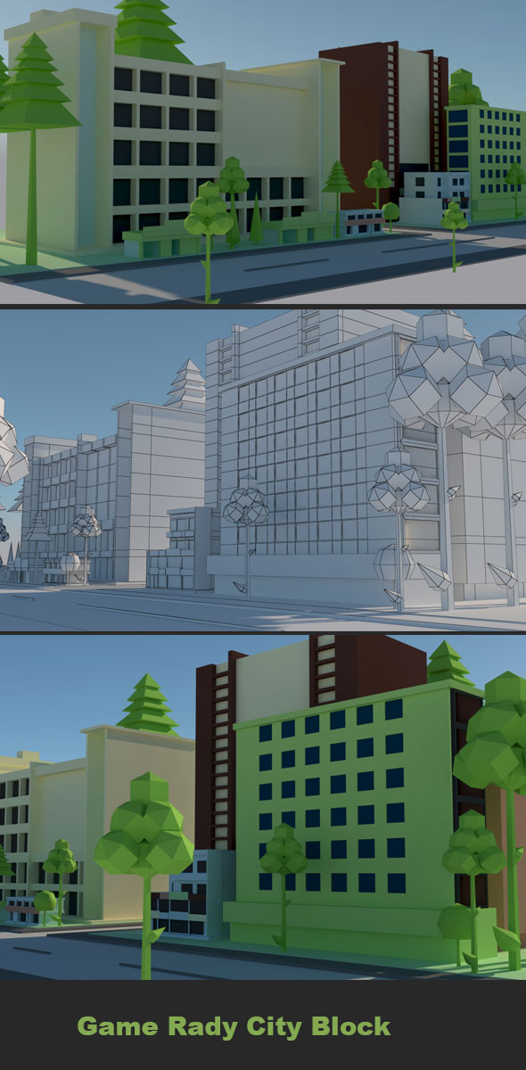 Cartoon City Block - 3DOcean Item for Sale