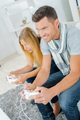 Couple playing computer game