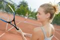 beautiful woman playing in tennis outdoors