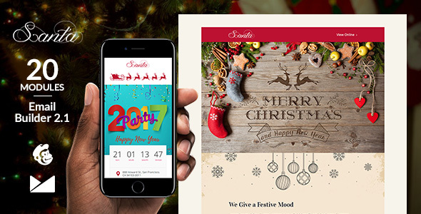Santa E-mail Template + On line Emailbuilder two.1 (Newsletters)