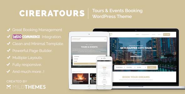 Фото Шаблон Wordpress платный  Cireratours - Tours/Events Booking WordPress Theme — preview cireratours themeforest.  large preview
