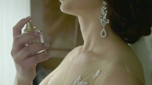 VideoHive Bride Using Perfume on Her Wedding Day 19126074